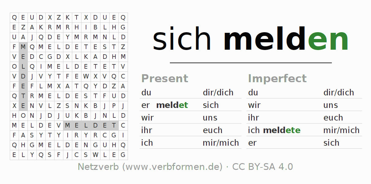 Word search puzzle for the conjugation of the verb sich melden