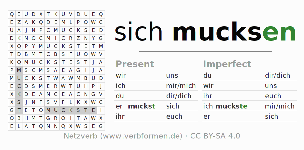 Word search puzzle for the conjugation of the verb sich mucksen