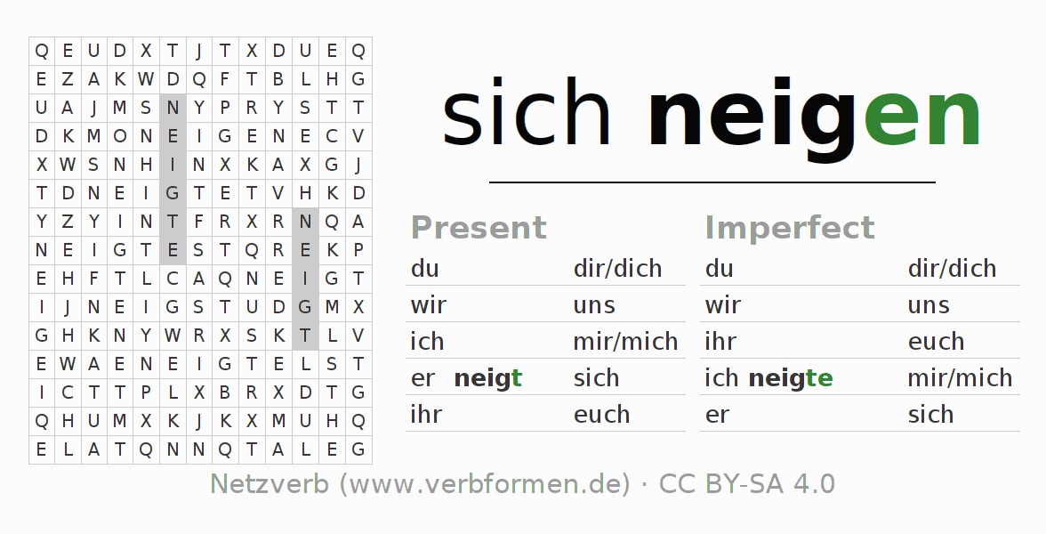 Word search puzzle for the conjugation of the verb sich neigen