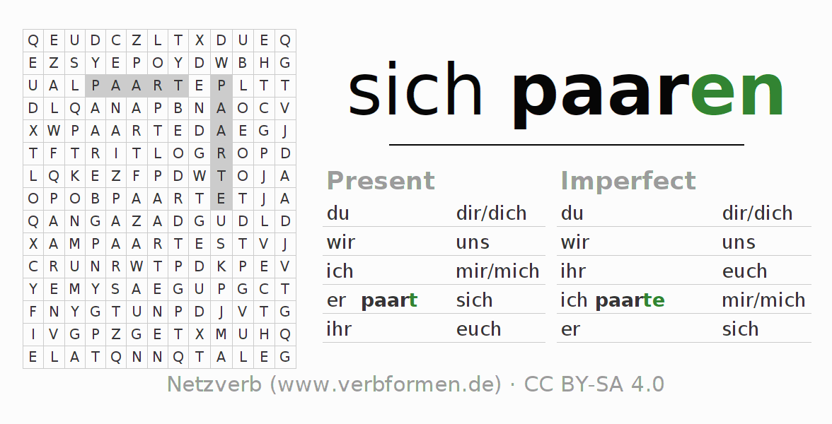 Word search puzzle for the conjugation of the verb sich paaren