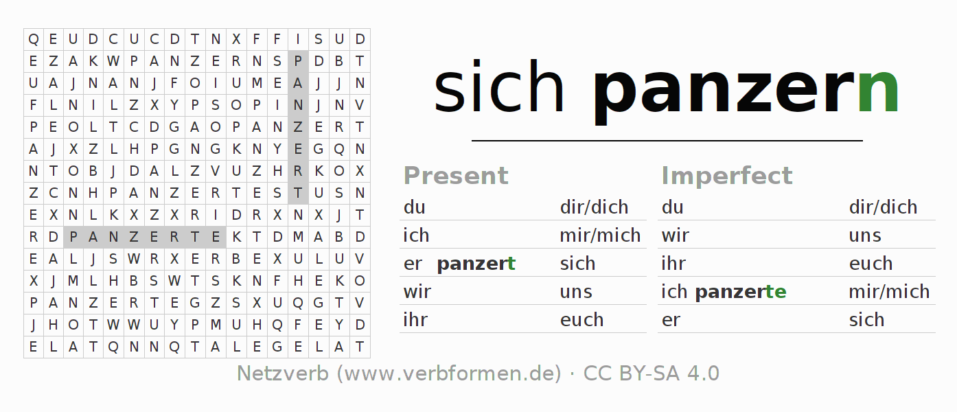 Word search puzzle for the conjugation of the verb sich panzern