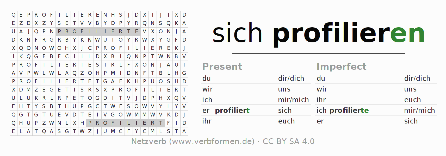 Word search puzzle for the conjugation of the verb sich profilieren