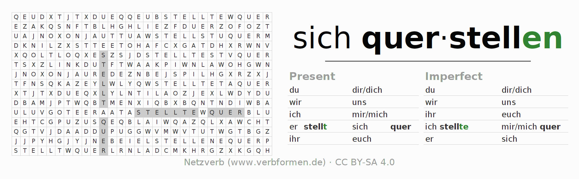Word search puzzle for the conjugation of the verb sich querstellen