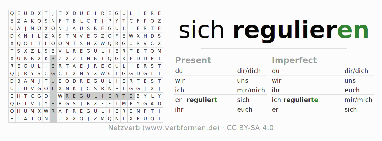 Word search puzzle for the conjugation of the verb sich regulieren
