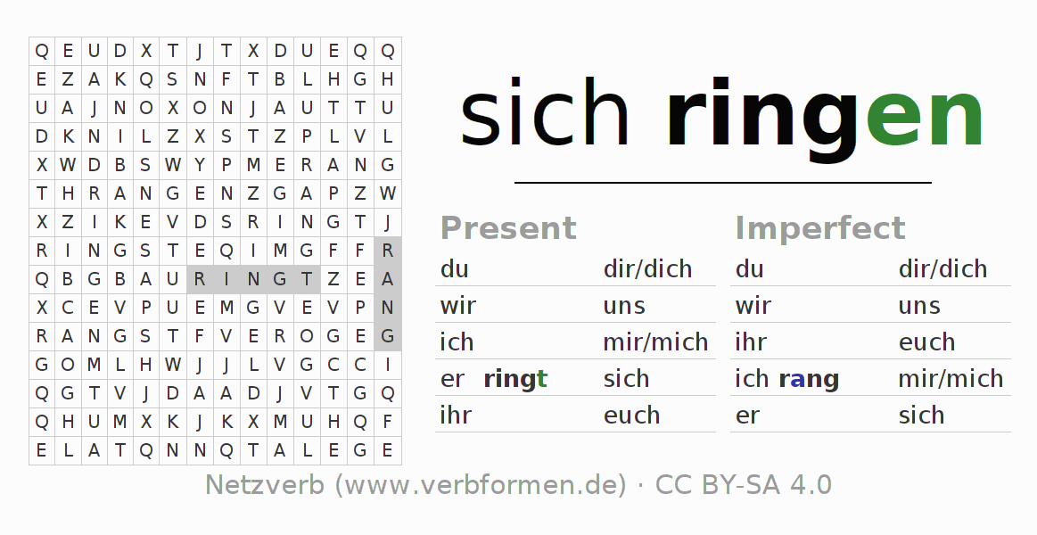 Word search puzzle for the conjugation of the verb sich ringen