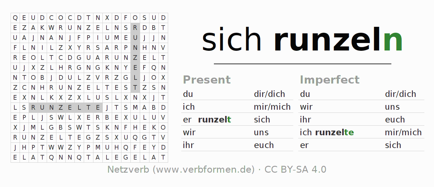 Word search puzzle for the conjugation of the verb sich runzeln