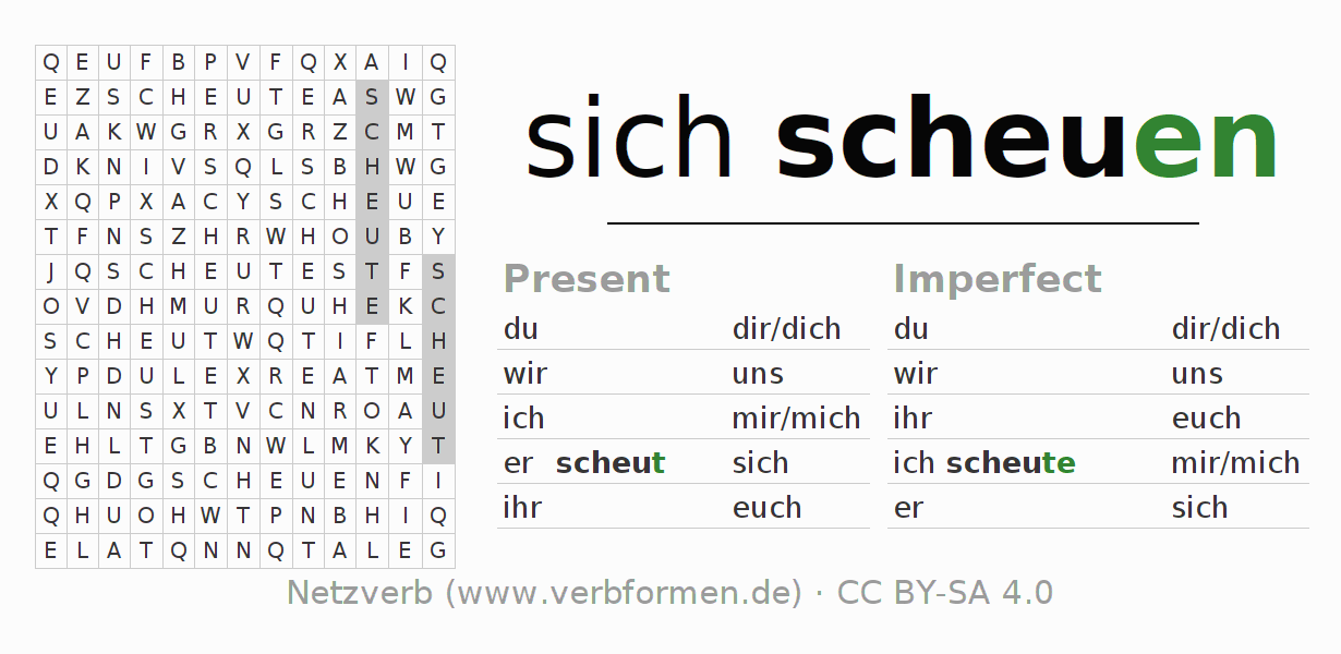 Word search puzzle for the conjugation of the verb sich scheuen