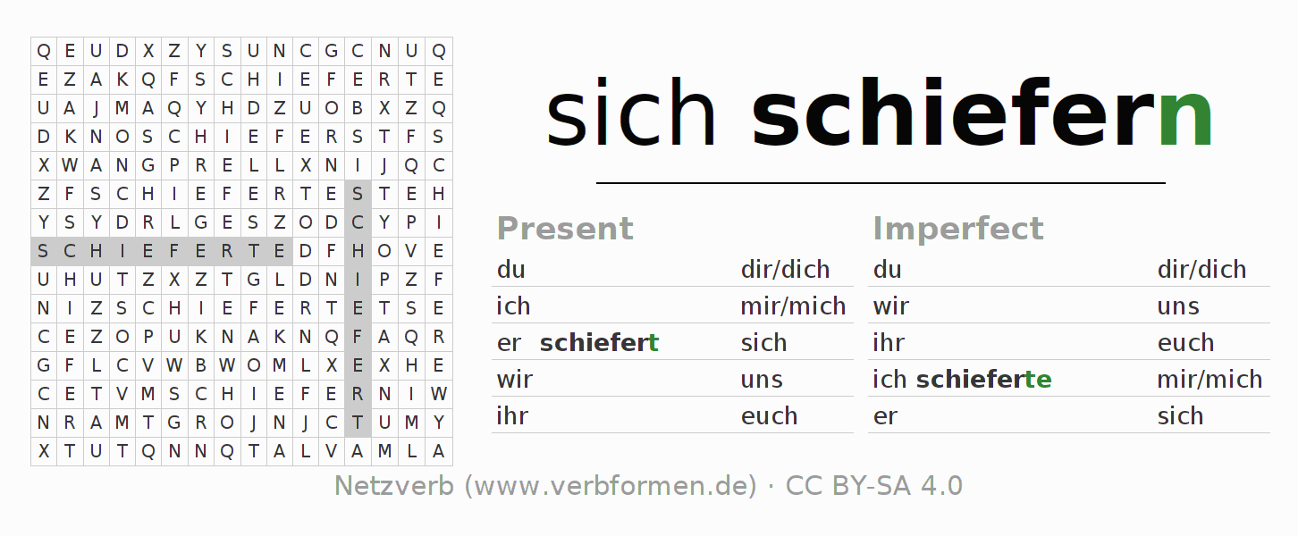 Word search puzzle for the conjugation of the verb sich schiefern