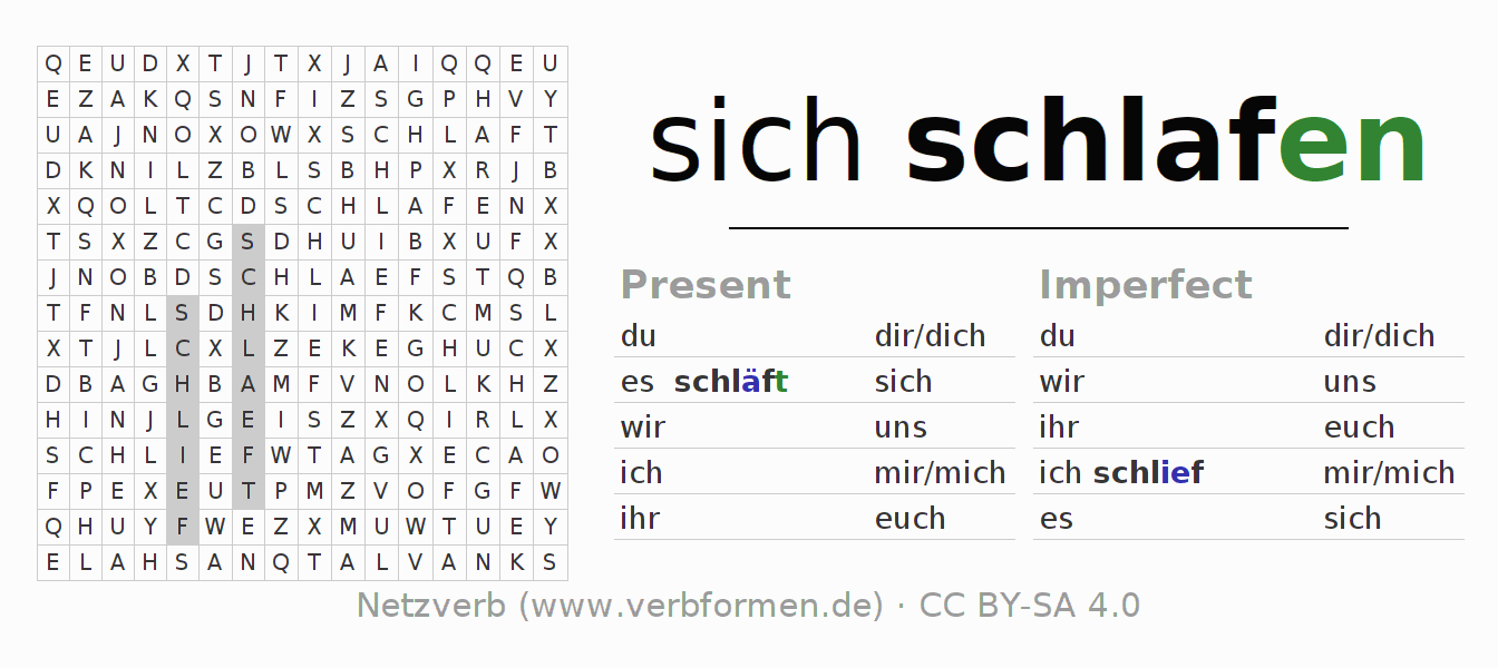 Word search puzzle for the conjugation of the verb sich schlafen