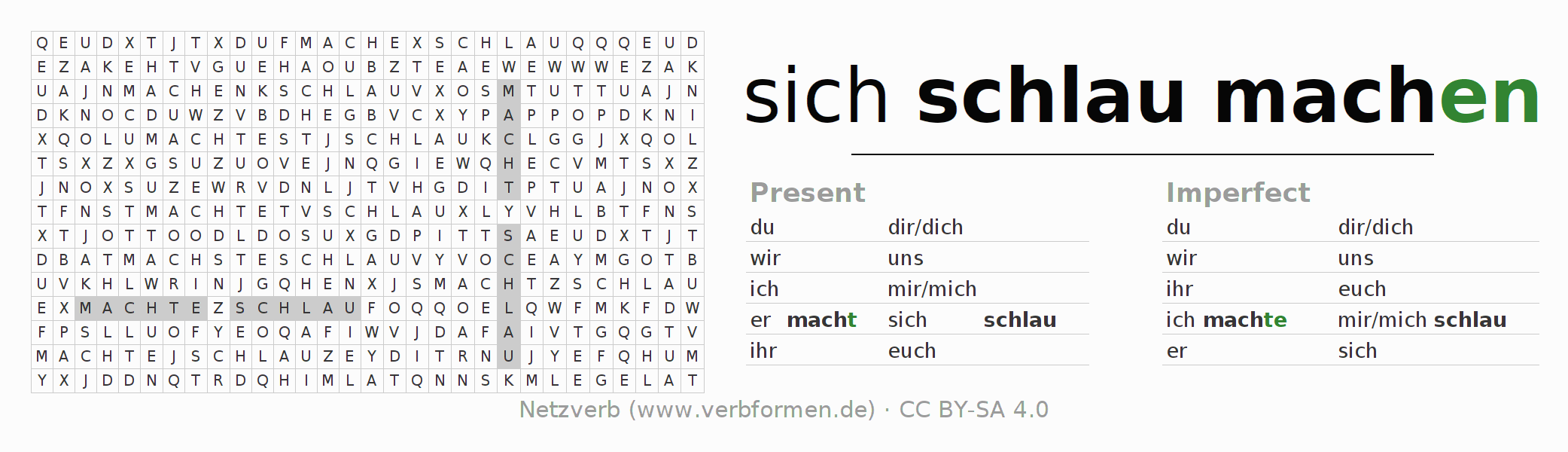 Word search puzzle for the conjugation of the verb sich schlaumachen