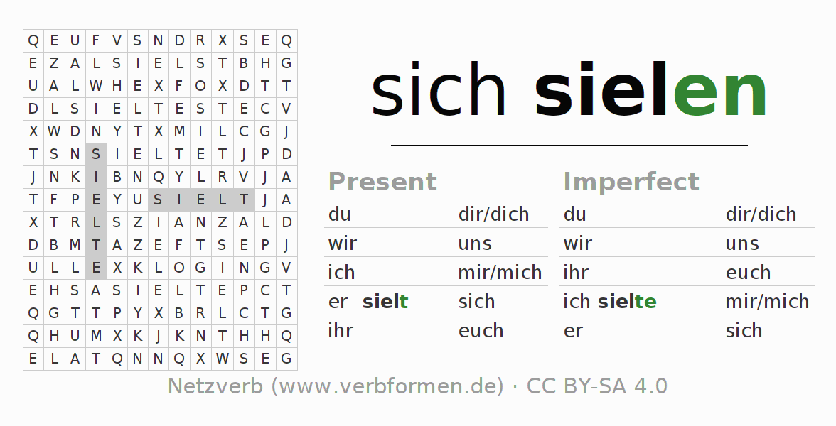 Word search puzzle for the conjugation of the verb sich sielen
