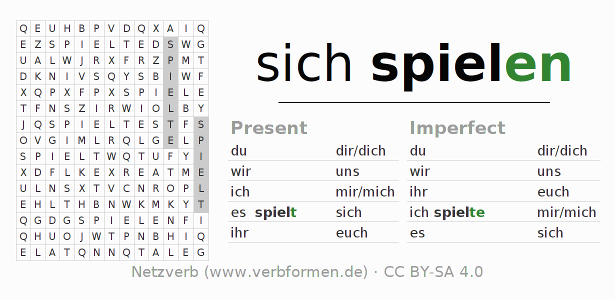 Word search puzzle for the conjugation of the verb sich spielen