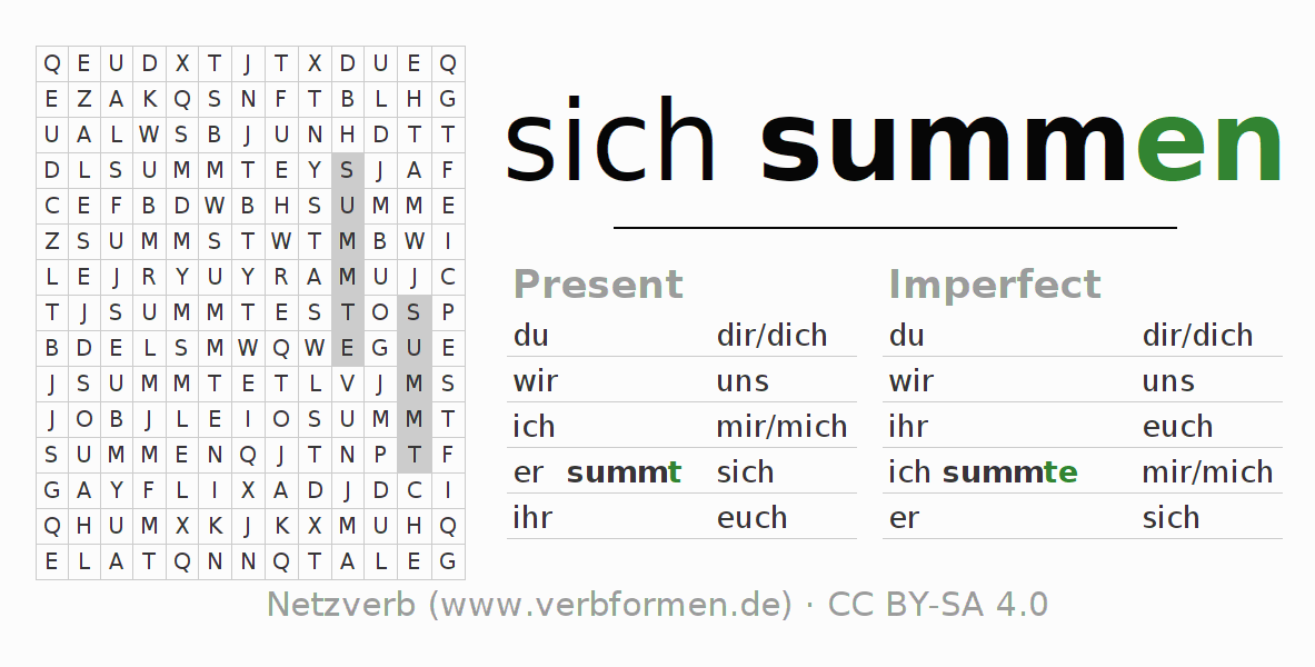Word search puzzle for the conjugation of the verb sich summen (hat)