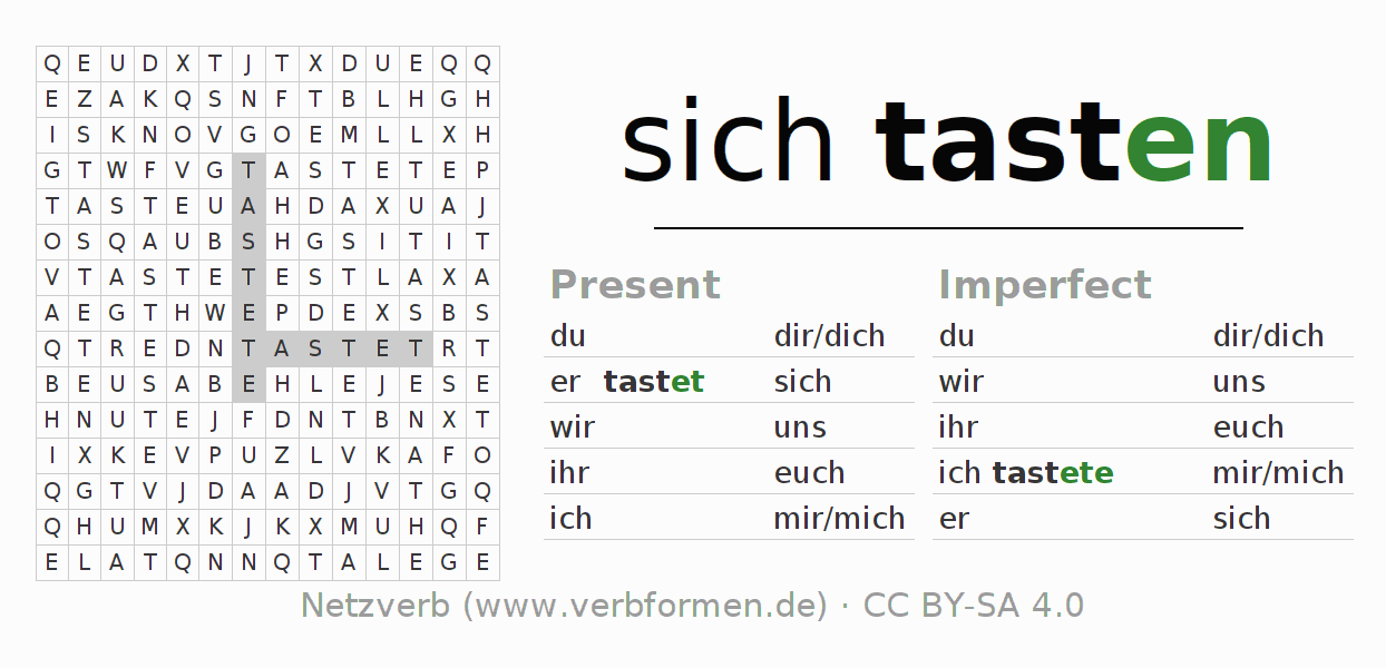 Word search puzzle for the conjugation of the verb sich tasten