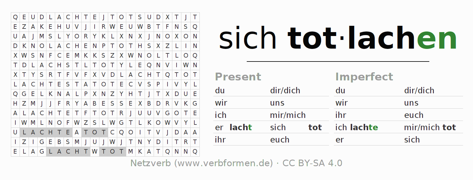 Word search puzzle for the conjugation of the verb sich totlachen