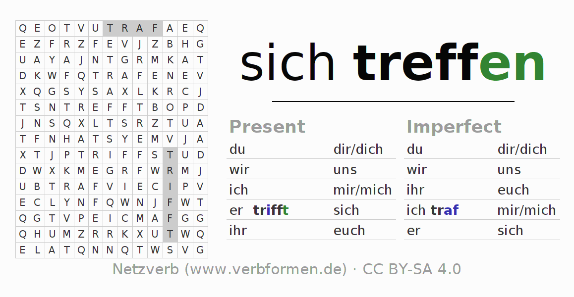 Word search puzzle for the conjugation of the verb sich treffen (hat)