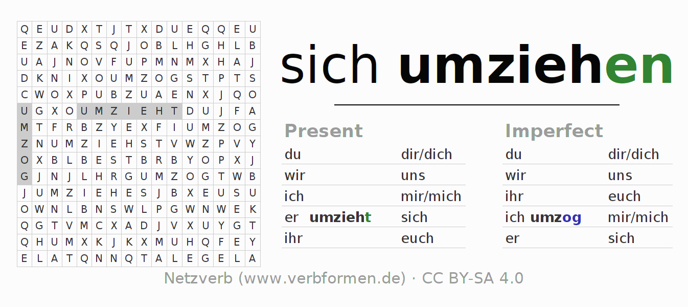Word search puzzle for the conjugation of the verb sich umziehen (hat)
