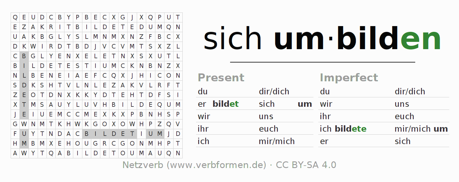 Word search puzzle for the conjugation of the verb sich umbilden
