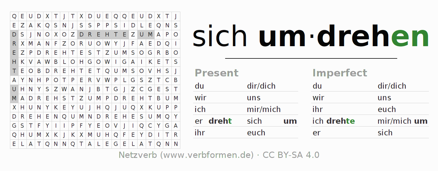 Word search puzzle for the conjugation of the verb sich umdrehen (hat)