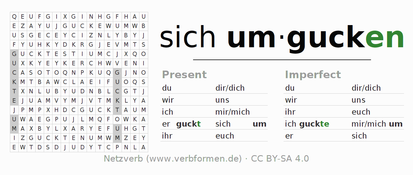 Word search puzzle for the conjugation of the verb sich umgucken