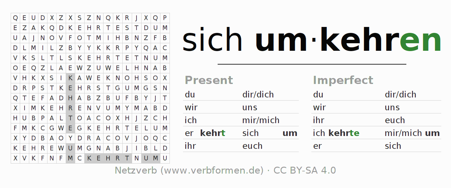 Word search puzzle for the conjugation of the verb sich umkehren (hat)