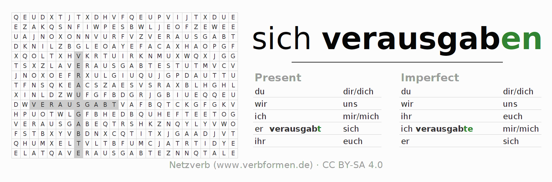 Word search puzzle for the conjugation of the verb sich verausgaben