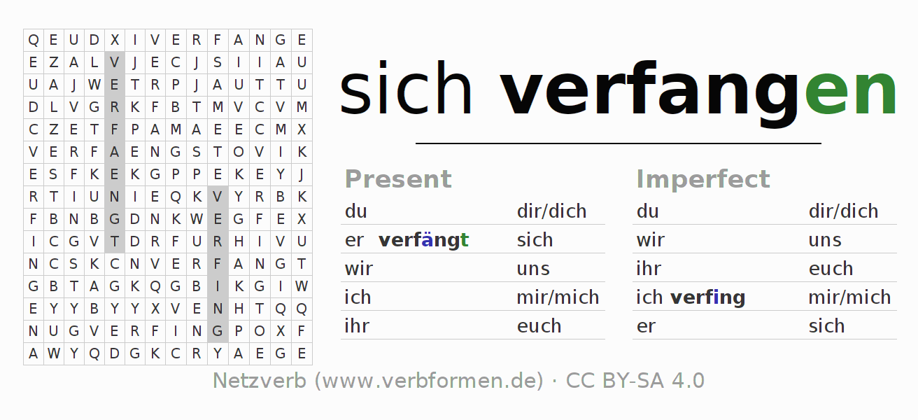 Word search puzzle for the conjugation of the verb sich verfangen