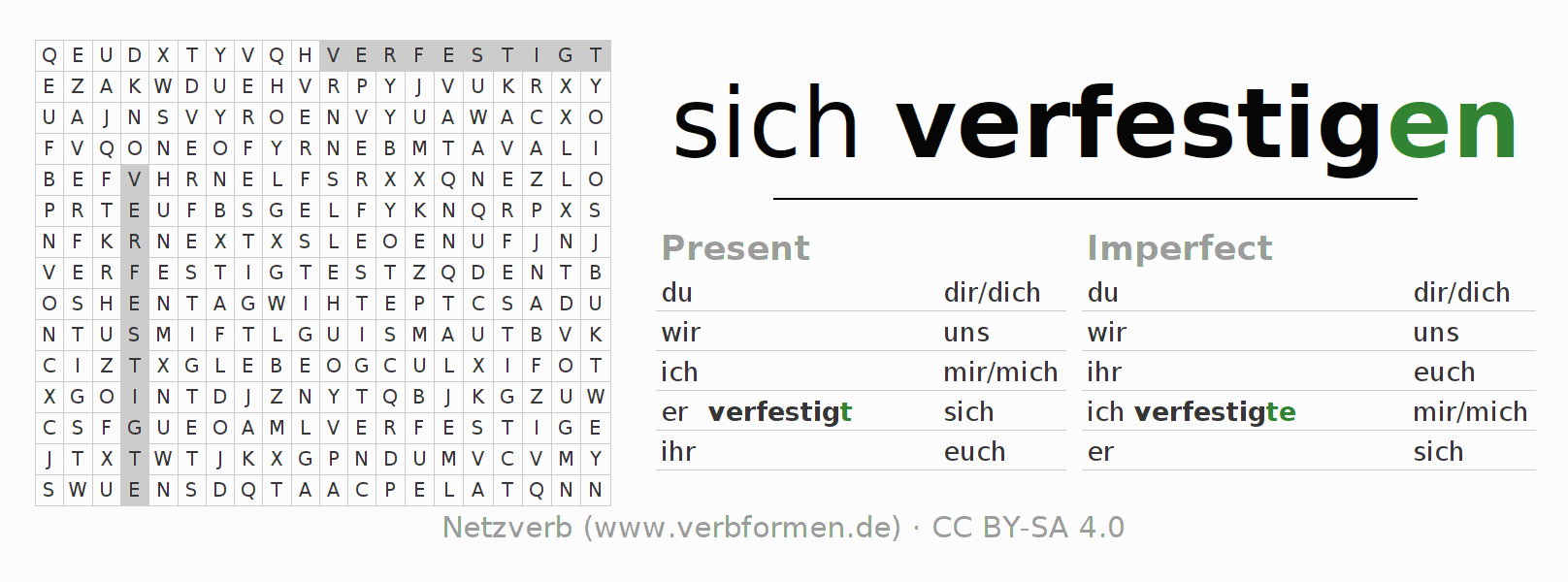 Word search puzzle for the conjugation of the verb sich verfestigen