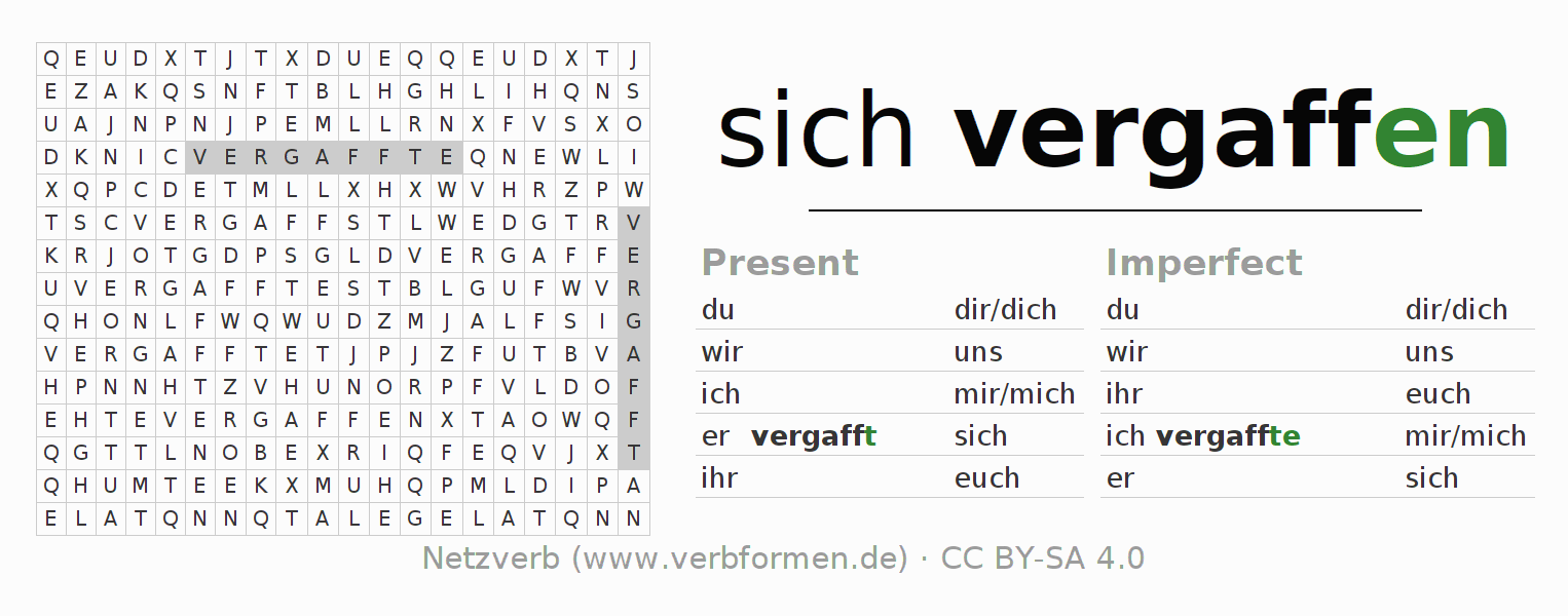 Word search puzzle for the conjugation of the verb sich vergaffen