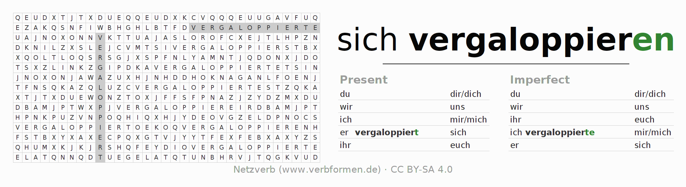 Word search puzzle for the conjugation of the verb sich vergaloppieren