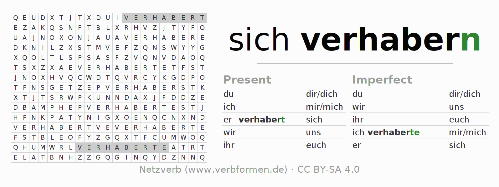 Word search puzzle for the conjugation of the verb sich verhabern