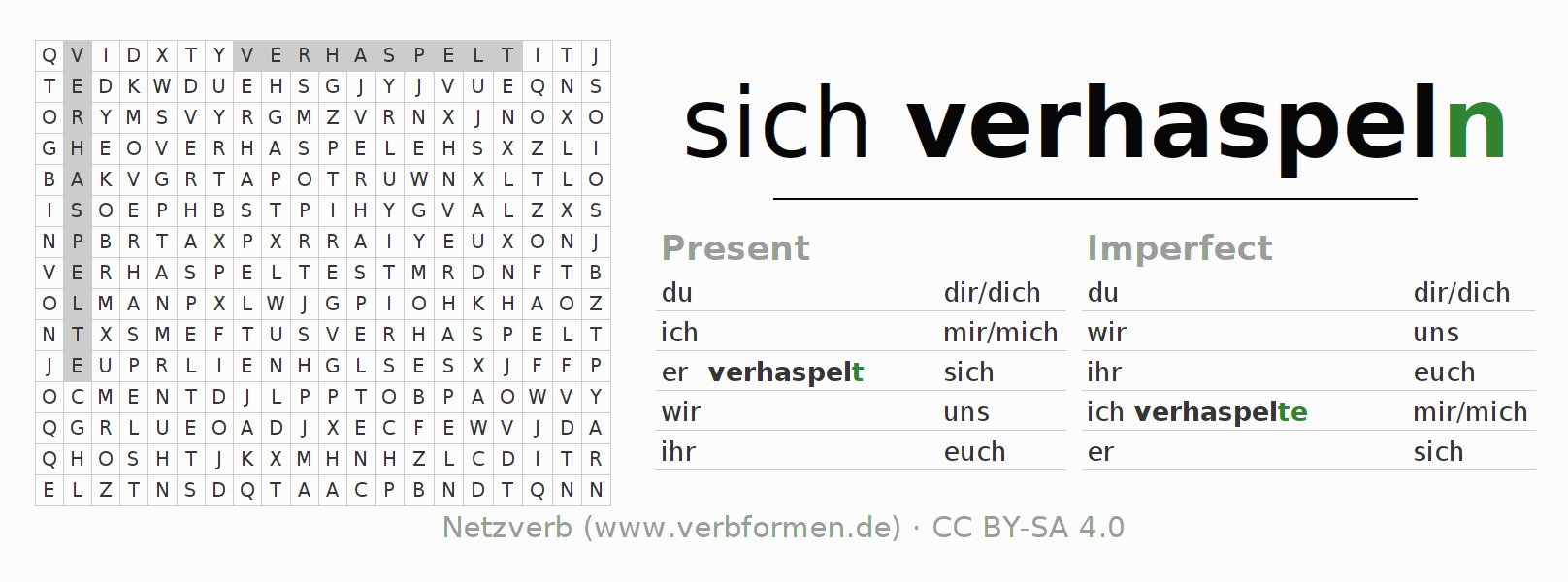 Word search puzzle for the conjugation of the verb sich verhaspeln