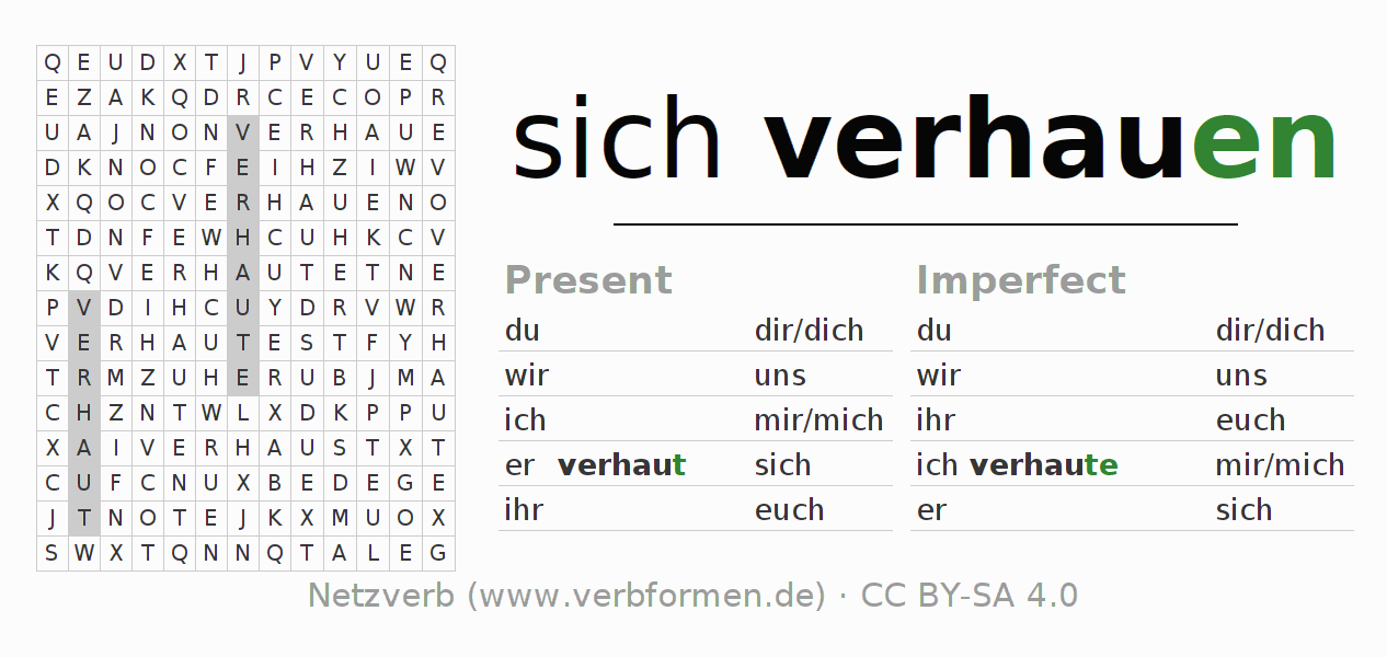 Word search puzzle for the conjugation of the verb sich verhauen