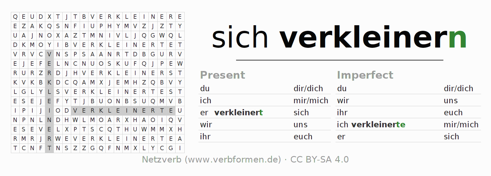 Word search puzzle for the conjugation of the verb sich verkleinern