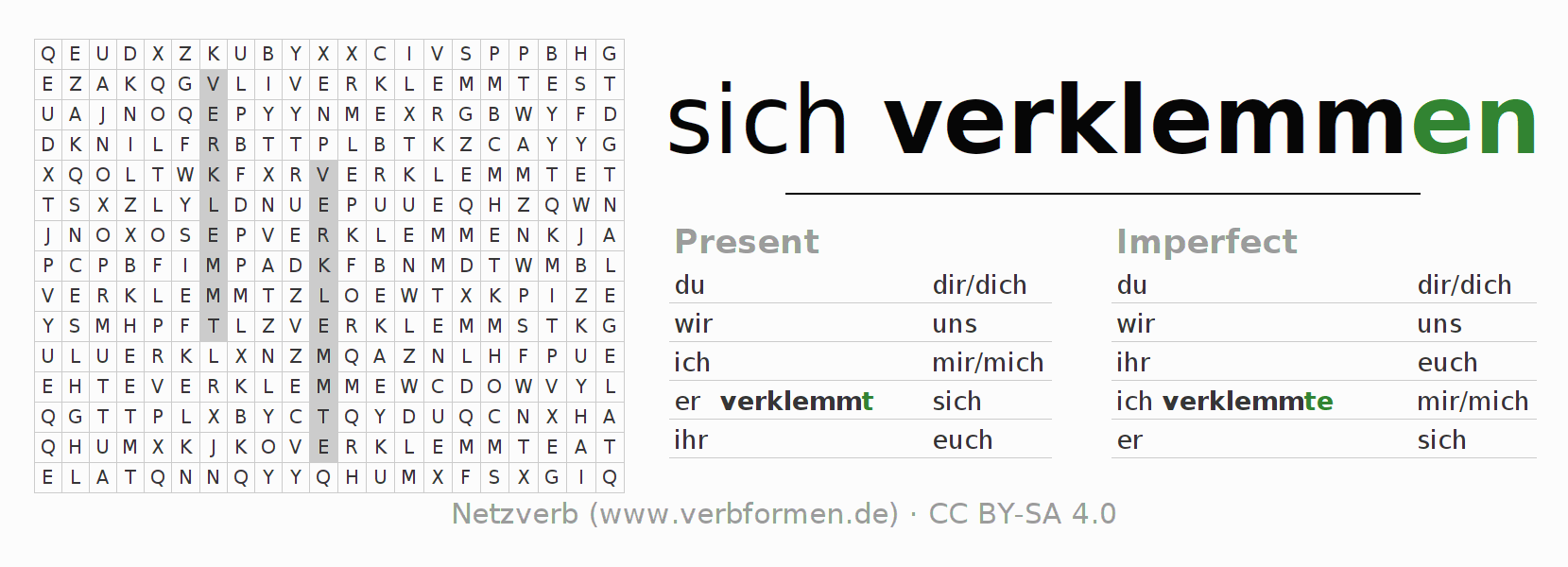 Word search puzzle for the conjugation of the verb sich verklemmen