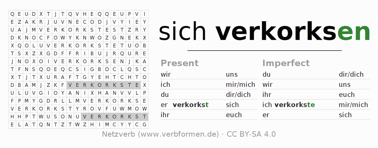 Word search puzzle for the conjugation of the verb sich verkorksen