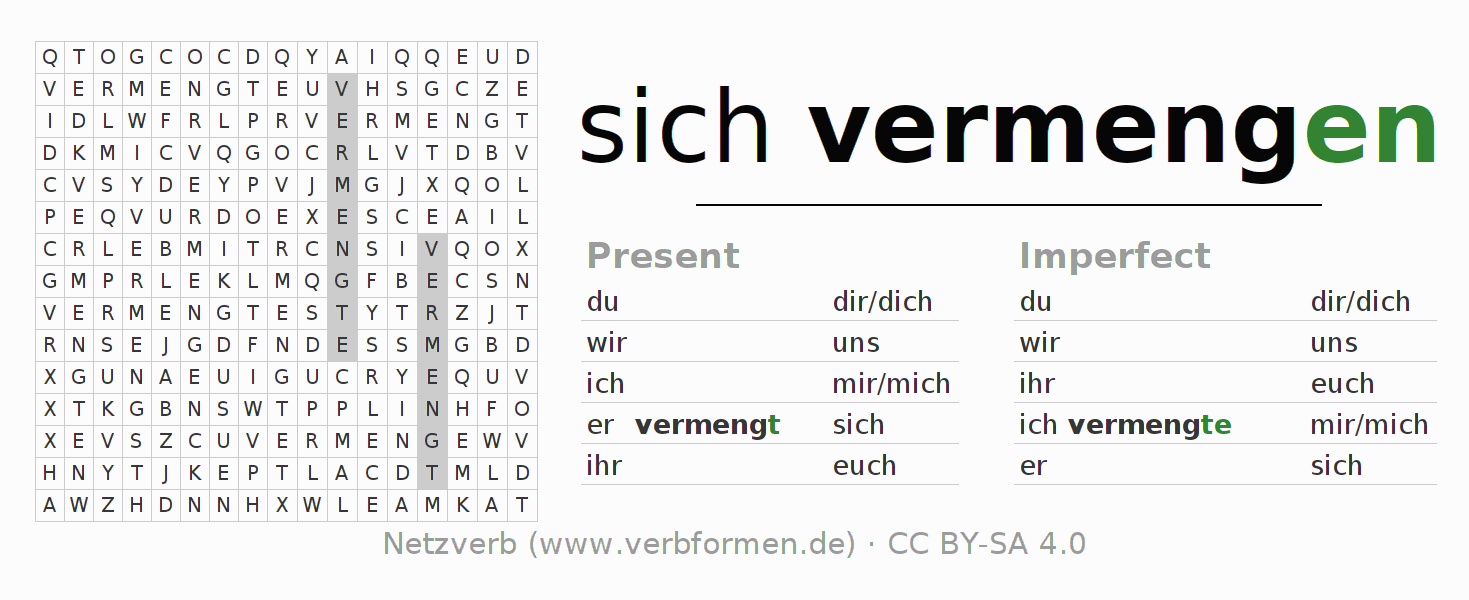 Word search puzzle for the conjugation of the verb sich vermengen