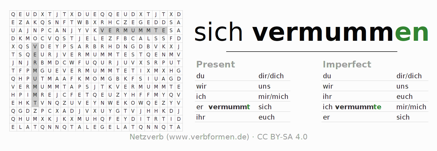 Word search puzzle for the conjugation of the verb sich vermummen