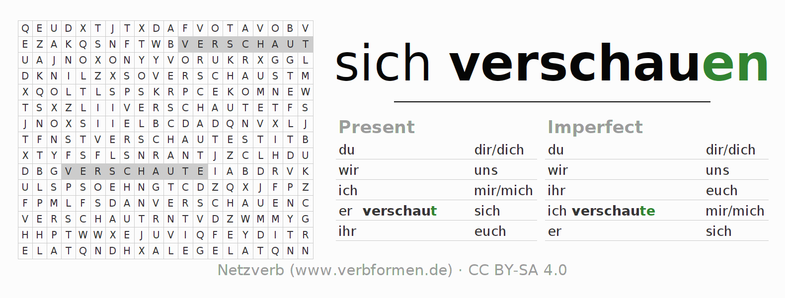 Word search puzzle for the conjugation of the verb sich verschauen