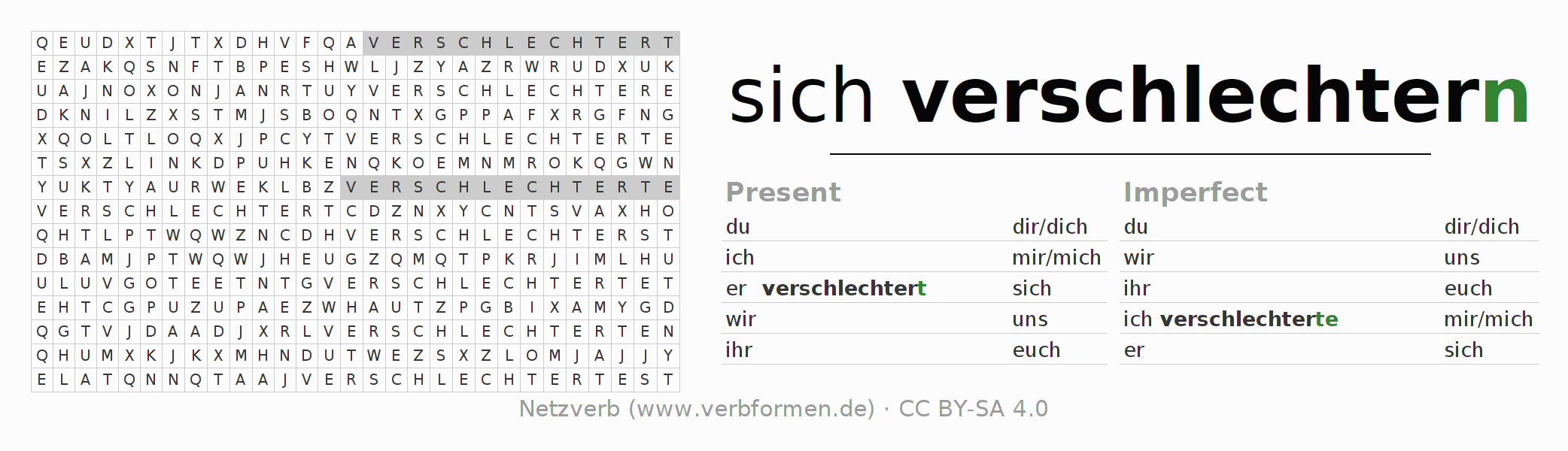 Word search puzzle for the conjugation of the verb sich verschlechtern