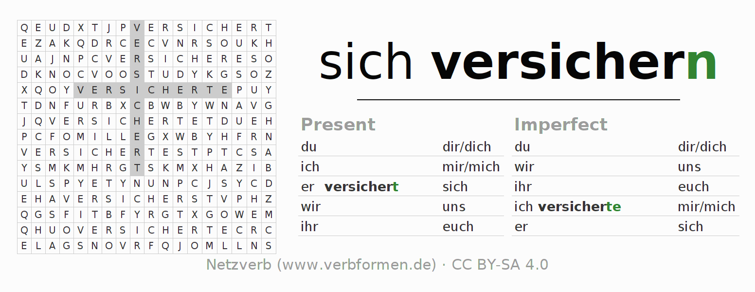 Word search puzzle for the conjugation of the verb sich versichern