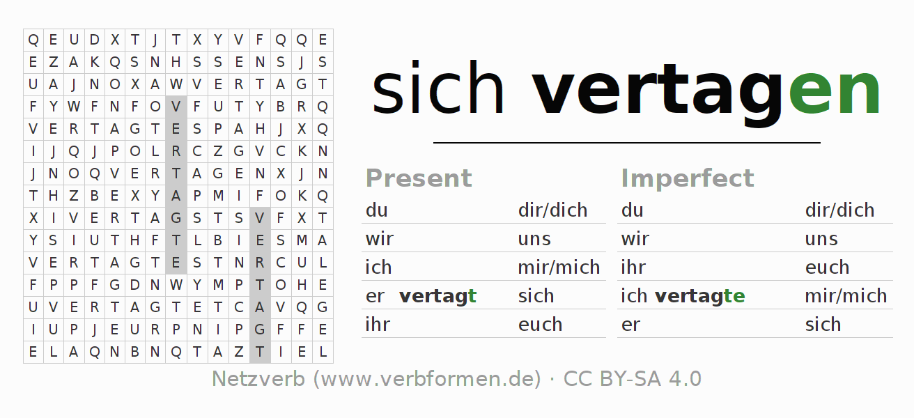 Word search puzzle for the conjugation of the verb sich vertagen