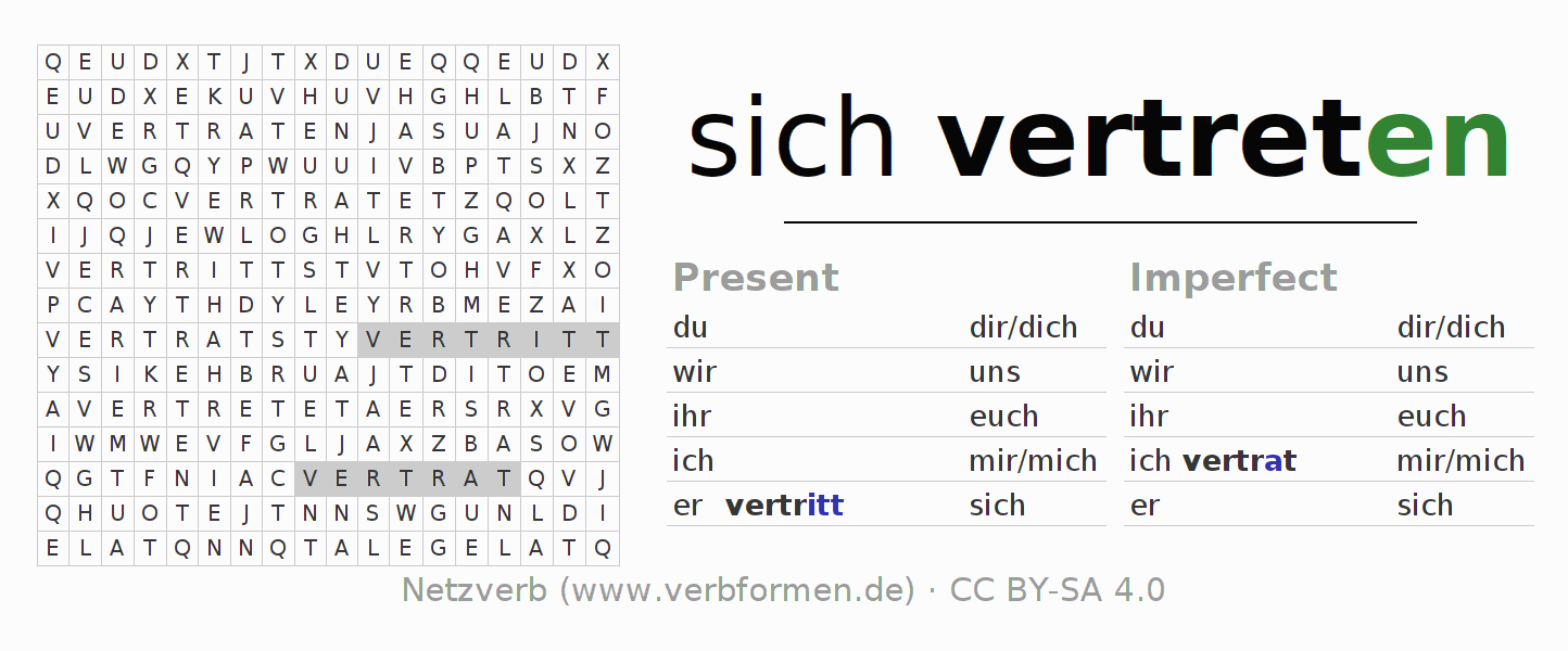 Word search puzzle for the conjugation of the verb sich vertreten (hat)