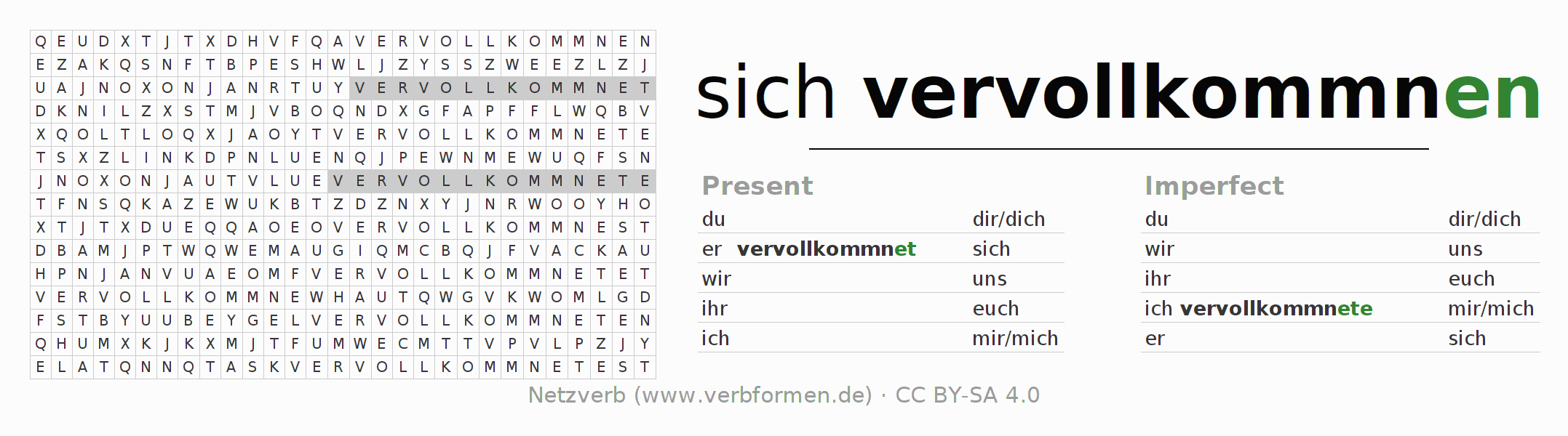 Word search puzzle for the conjugation of the verb sich vervollkommnen