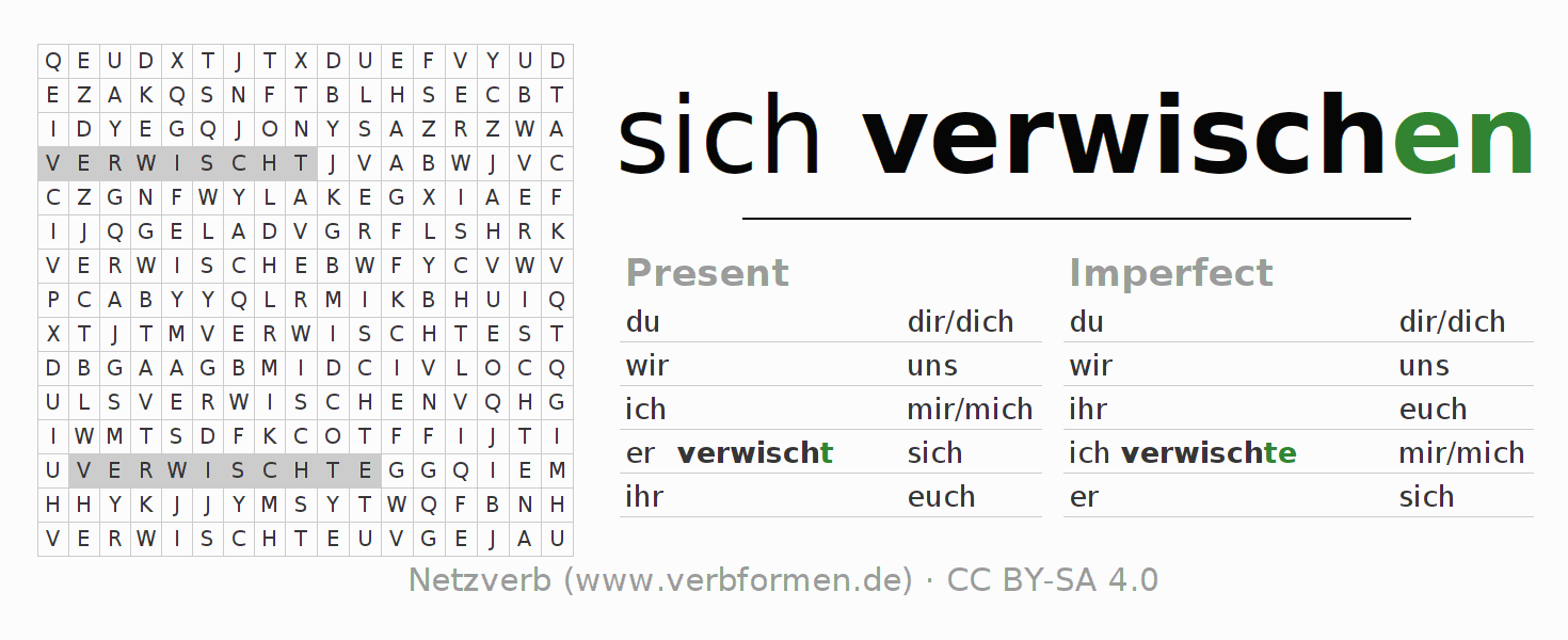 Word search puzzle for the conjugation of the verb sich verwischen
