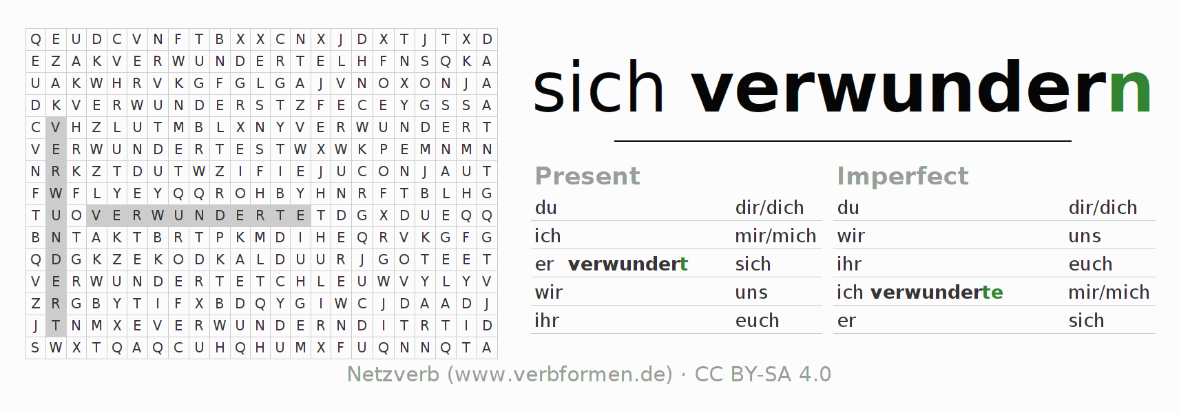 Word search puzzle for the conjugation of the verb sich verwundern