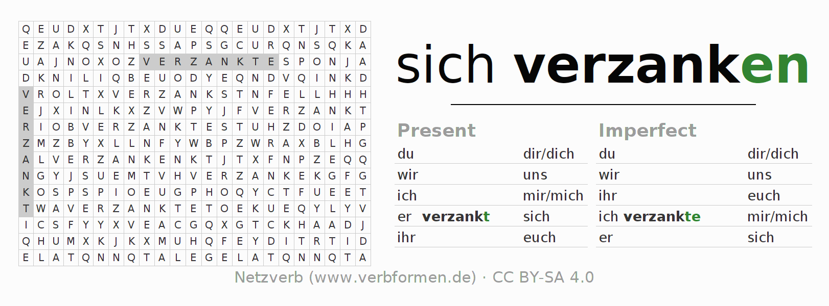 Word search puzzle for the conjugation of the verb sich verzanken
