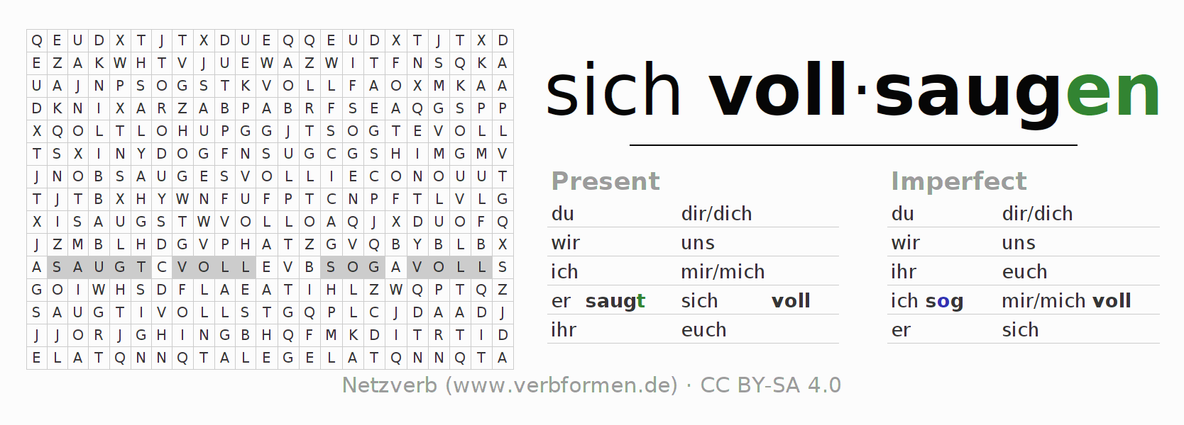 Word search puzzle for the conjugation of the verb sich vollsaugen (unr)