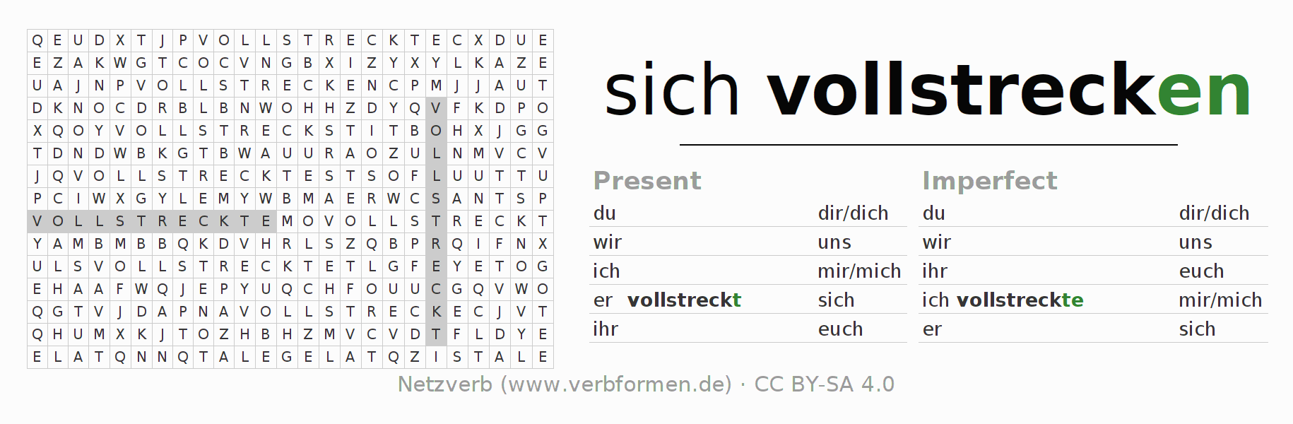 Word search puzzle for the conjugation of the verb sich vollstrecken