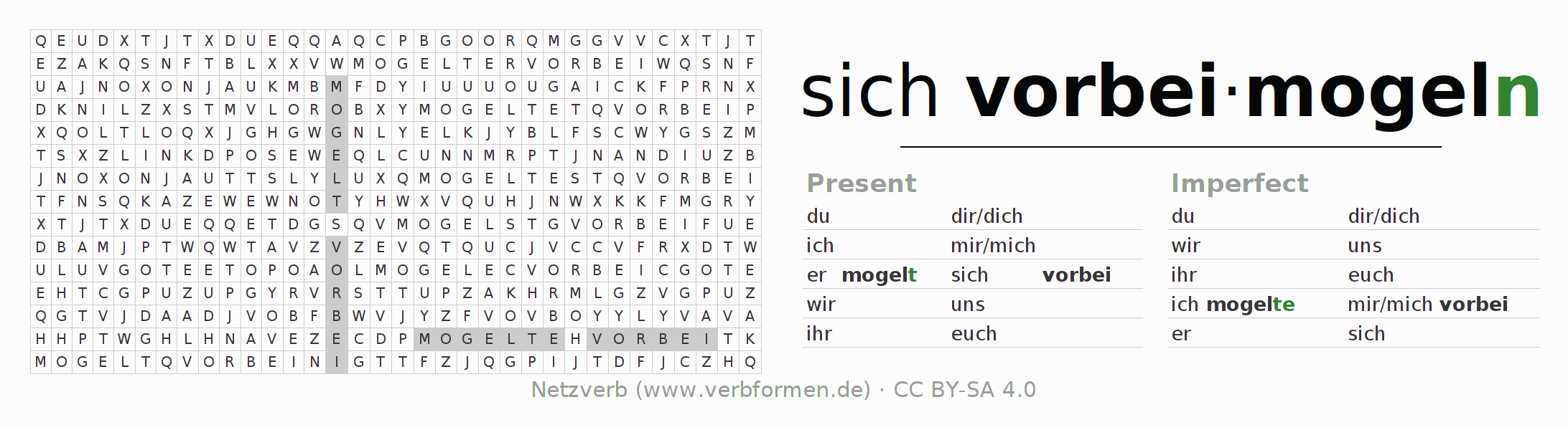 Word search puzzle for the conjugation of the verb sich vorbeimogeln